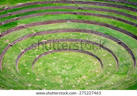 Agricultural terraces in Moray, Cusco, Peru - stock photo