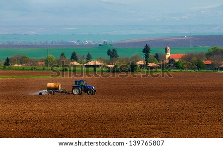 agricultural tractor that sprayed crops - stock photo