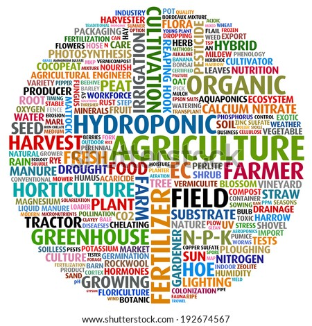 agricultural words collage - stock photo