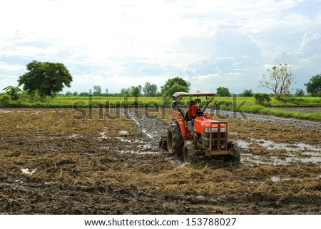Agricultural work in processing, cultivation of land in Thailand. - stock photo