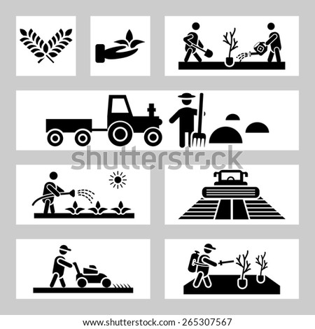 Agriculture and farming icons - stock photo