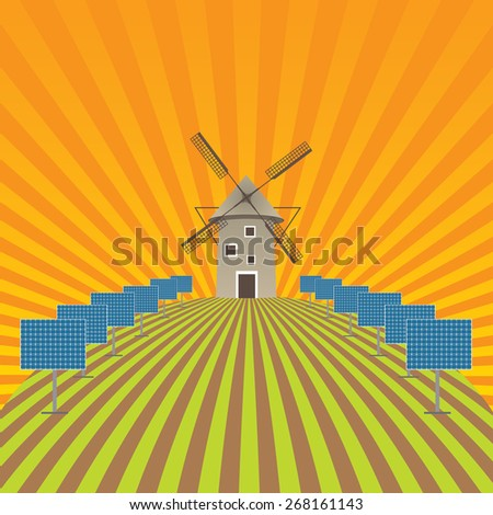 Agriculture field landscape and ECO background  - stock photo