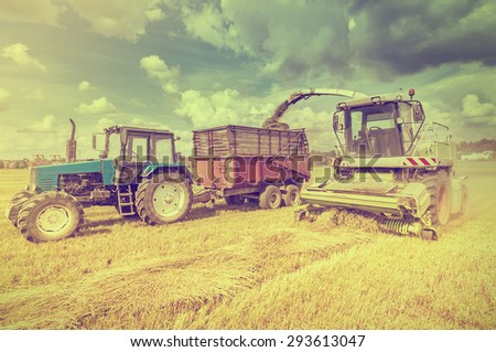 Agriculture machines collect hay in the field in a summer day. - stock photo