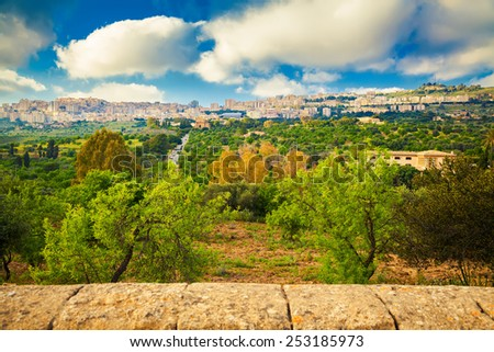 Agrigento city seen from the Valley of Temples, Sicily - stock photo