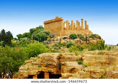 Agrigento, Greek Temples Valley, Juno Temple (480-420 b.C.), Sicily, Italy - stock photo