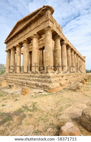 Agrigento, Sicily island in Italy. Famous Valle dei Templi, UNESCO World Heritage Site. Greek temple - remains of the Temple of Concordia. - stock photo