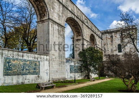 "Aguas Livres Aqueduct (""Aqueduct of the Free Waters"", 1799) is a historic aqueduct in city of Lisbon, Portugal. It is one of most remarkable examples of 18th-century Portuguese hydraulics engineering. - stock photo"