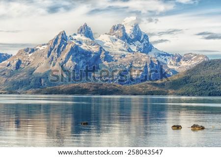 Aguila glacier, Patagonia, Chile  - stock photo
