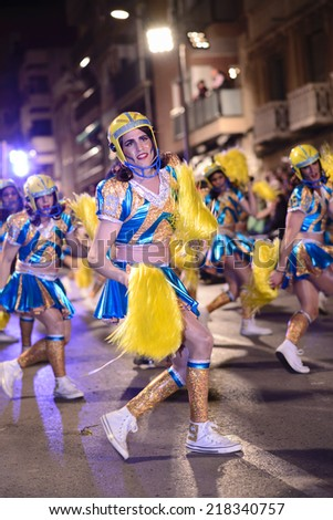 Aguilas, Murcia, Spain - March 02, 2014; Aguilas Carnival, declared National Tourist Interest since 1997. Its the most famous in Murcia with a spectacular procession characterized by colour and humour - stock photo