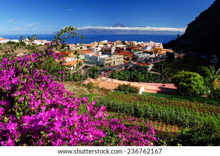 Agulo and El Teide Volcano, La Gomera, Spain, Europe  - stock photo