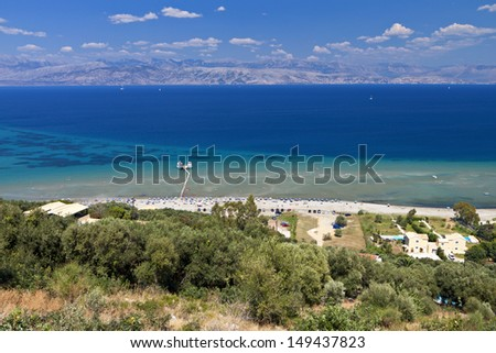 Aharavi beach at Corfu island in Greece - stock photo