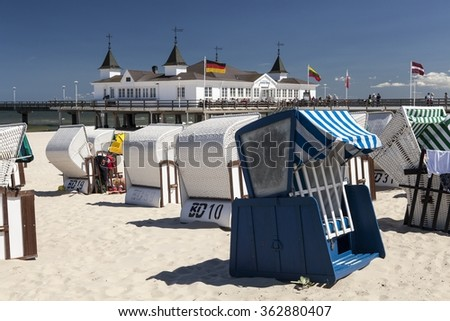 Ahlbeck at Baltic Sea on Usedom Island,Mecklenburg- Vorpommern,Germany. - stock photo
