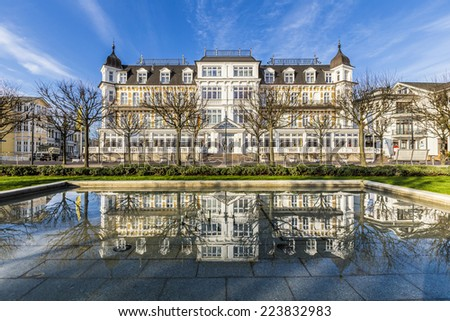 Ahlbecker Hof in Ahlbeck with reflections - stock photo