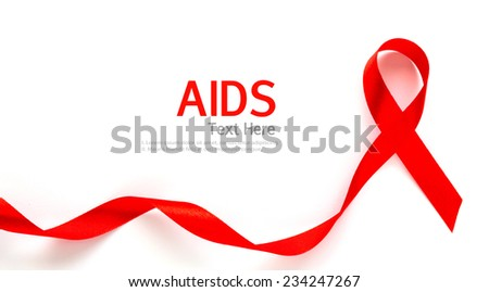 Aids Awareness Red heart Ribbon isolated on white background - stock photo