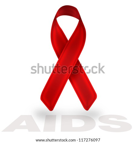 aids red ribbon isolated on white background - stock photo
