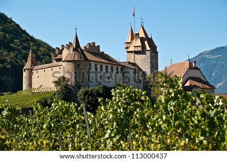 Aigle is a litlle town in Vaud Switzerland - stock photo