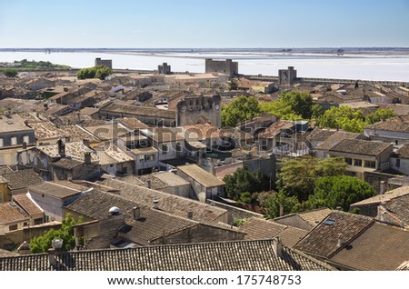 Aigues Mortes is a walled Medieval town in the  Provence, France - stock photo