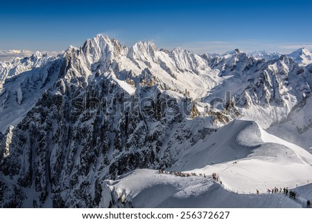 Aiguille du Midi - Skiing Adventure - stock photo