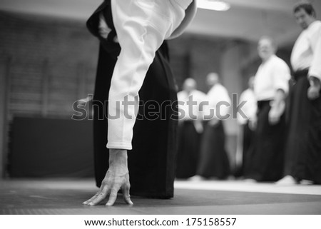 Aikido instructor showing technique - stock photo