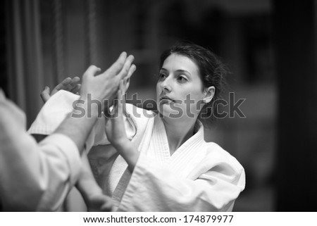 Aikido techniques practice - stock photo