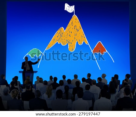 Aim Goal Motivate Strategy Success Mountain Target Concept - stock photo