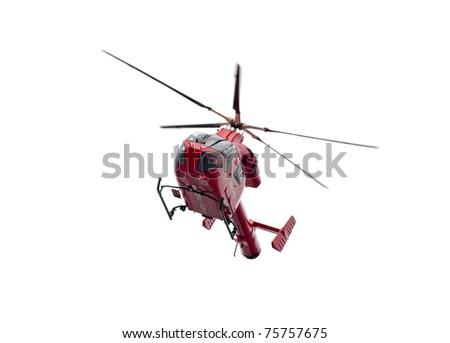 Air ambulance helicopter isolated on white background, London - UK - stock photo