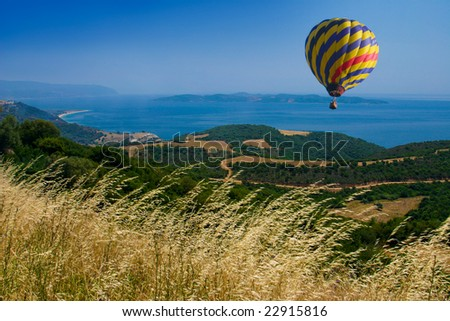 air balloon in the blue sky - stock photo
