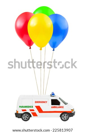 Air balloons and ambulance car isolated on white background - stock photo