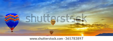 air balloons sunset discovery - stock photo