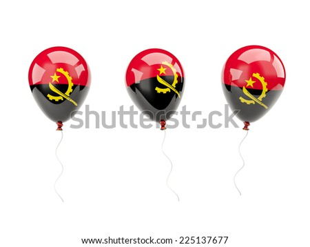 Air balloons with flag of angola isolated on white - stock photo