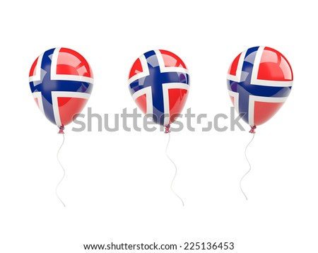 Air balloons with flag of norway isolated on white - stock photo