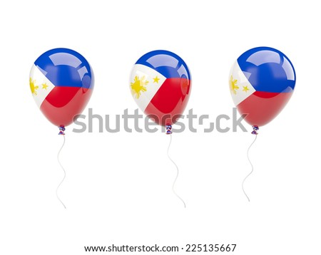 Air balloons with flag of philippines isolated on white - stock photo