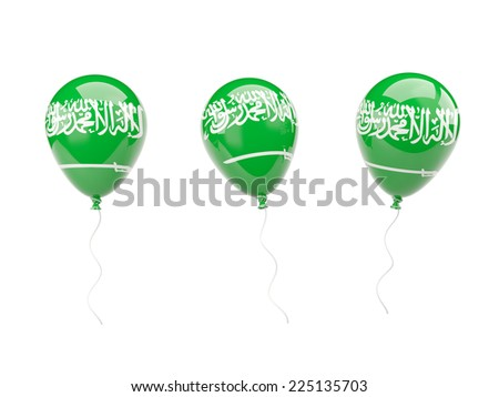 Air balloons with flag of saudi arabia isolated on white - stock photo