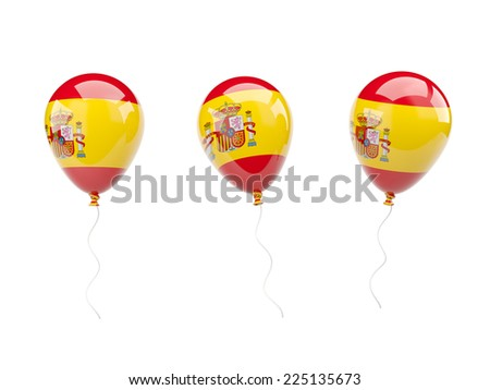 Air balloons with flag of spain isolated on white - stock photo