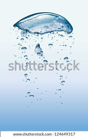 Air bubbles vibrating in light blue water. Raster. Check my portfolio for a vector version. - stock photo