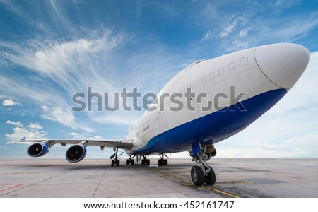 air cargo freighter with blue sky - stock photo