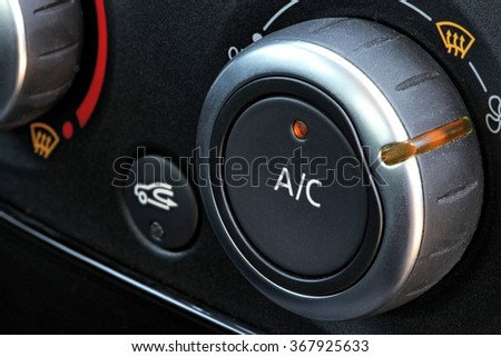 air condition button inside a car - stock photo