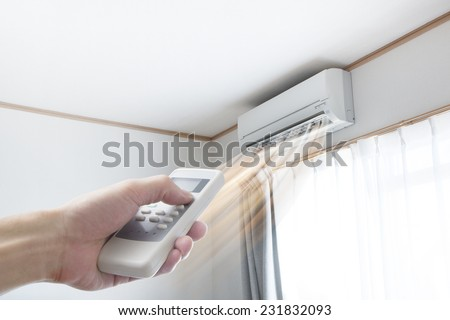 Air conditioner blowing warm air - stock photo