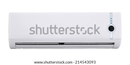 Air conditioner isolated on white - stock photo