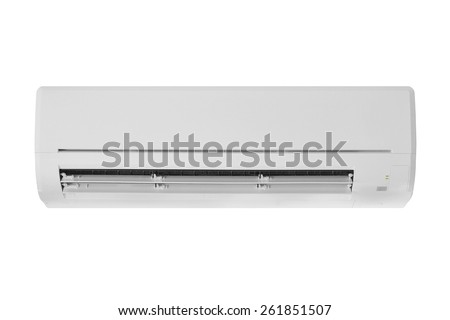 air conditioner machine isolated on white background - stock photo