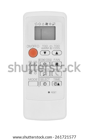 air conditioner remote control isolated on white - stock photo