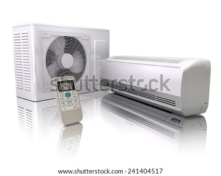 Air conditioner system isolated on white. 3d - stock photo