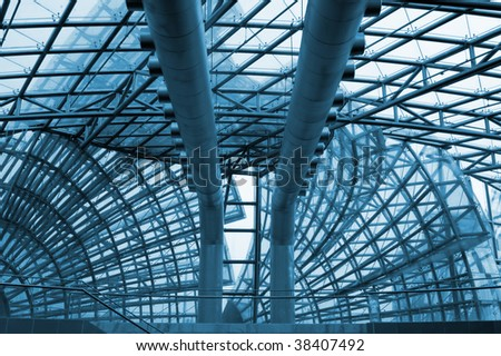 Air conditioning and ventilation within the trade building - stock photo