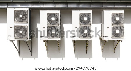 Air conditioning system assembled on a wall. - stock photo
