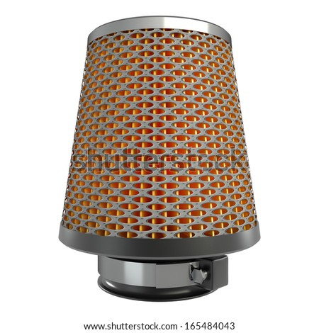 Air cone filter. isolated on white background. automobile accessory. 3d.  - stock photo