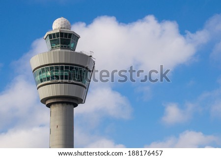 Air control tower in the Netherland's morning light. - stock photo