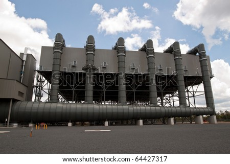 Air Cooled Condenser.  Environmentally advanced low emission power station producing low greenhouse emission electricity with minimal water loss. - stock photo