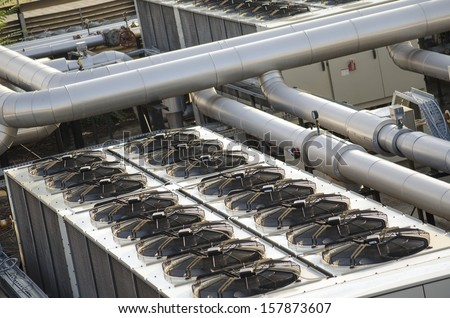 air cooling industrial system with fans - stock photo