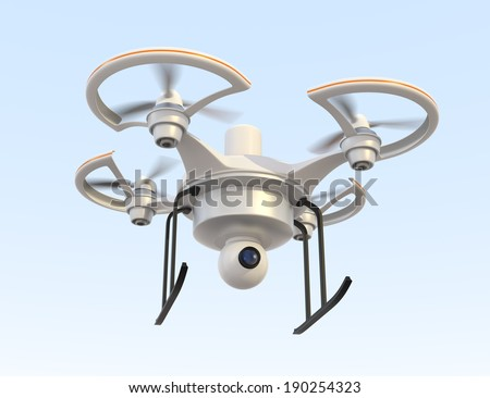 Air drone with camera flying in the sky - stock photo