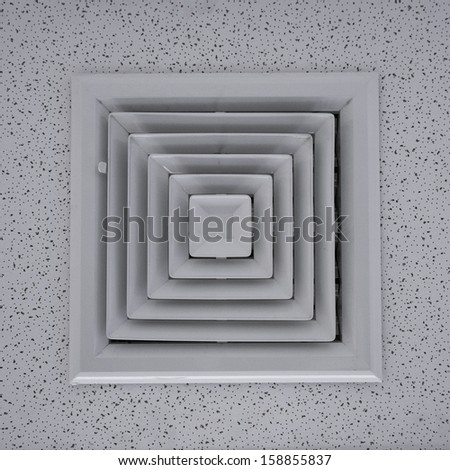 Air duct in square shape. - stock photo